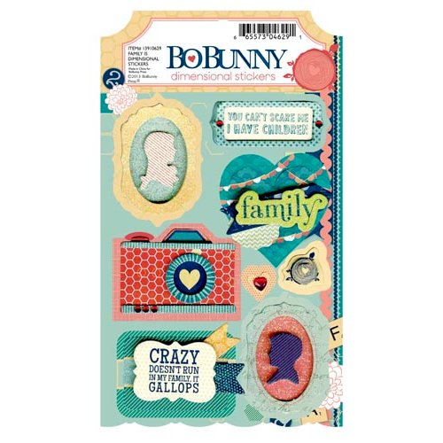 Bo Bunny - Family Is Collection - 3 Dimensional Stickers with Glitter and Jewel Accents