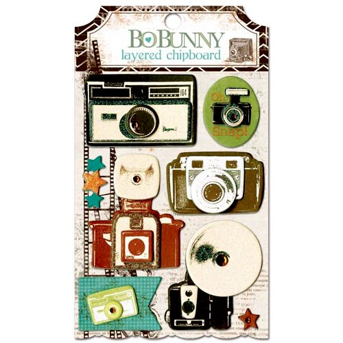 Bo Bunny - Mama-razzi 2 Collection - Layered Chipboard Stickers with Glitter and Jewel Accents
