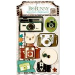 BoBunny - Mama-razzi 2 Collection - Layered Chipboard Stickers with Glitter and Jewel Accents