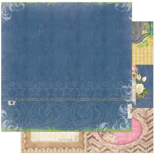 Bo Bunny - Prairie Chic Collection - 12 x 12 Double Sided Paper - Stonewashed Denim