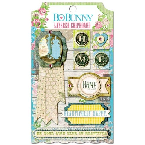 Bo Bunny - Prairie Chic Collection - Layered Chipboard Stickers with Glitter and Jewel Accents