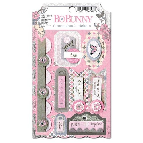 Bo Bunny - Isabella Collection - 3 Dimensional Stickers with Glitter and Jewel Accents