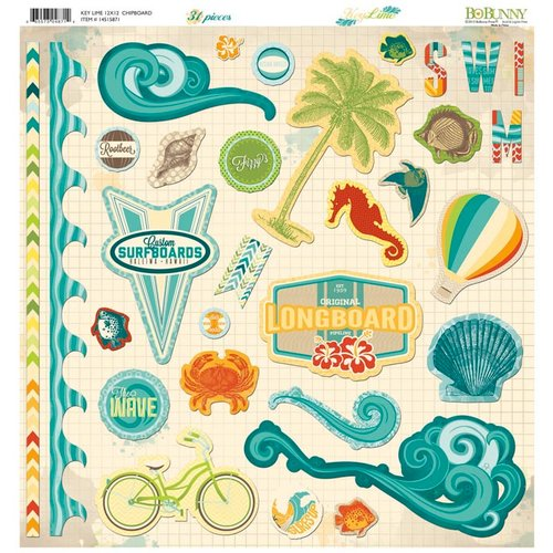 BoBunny - Key Lime Collection - 12 x 12 Chipboard Stickers