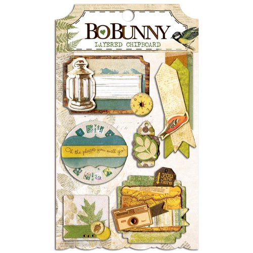 BoBunny - Trail Mix Collection - Layered Chipboard Stickers with Glitter and Jewel Accents