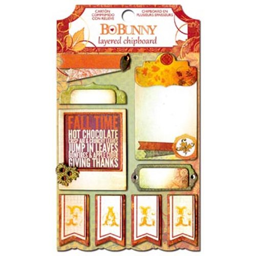 BoBunny - Autumn Song Collection - Layered Chipboard Stickers with Glitter and Jewel Accents