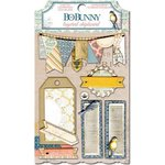 Bo Bunny - The Avenues Collection - Layered Chipboard Stickers with Glitter and Jewel Accents