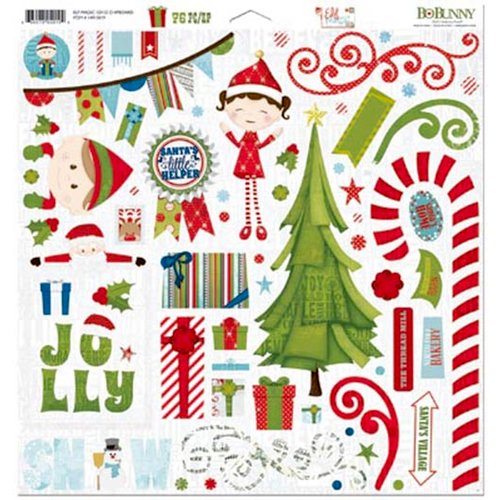 Bo Bunny - Elf Magic Collection - Christmas - 12 x 12 Chipboard Stickers
