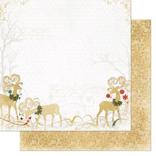 Bo Bunny - Silver and Gold Collection - Christmas - 12 x 12 Double Sided Paper - Silver and Gold