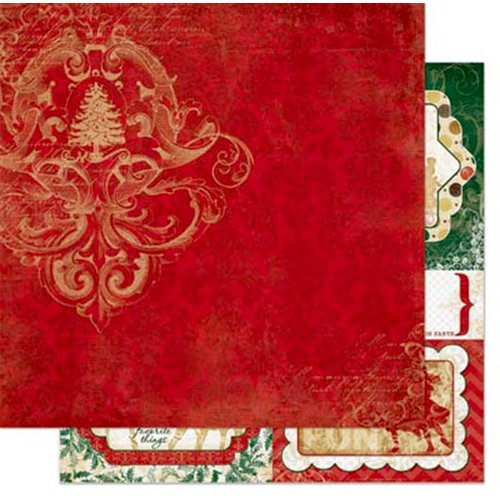 Bo Bunny - Silver and Gold Collection - Christmas - 12 x 12 Double Sided Paper - Red