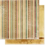 Bo Bunny - Silver and Gold Collection - Christmas - 12 x 12 Double Sided Paper - Stripes
