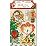 Bo Bunny - Silver and Gold Collection - Christmas - Layered Chipboard Stickers with Glitter and Jewel Accents