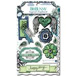 Bo Bunny - Zip-a-dee-doodle Collection - Layered Chipboard Stickers with Glitter and Jewel Accents