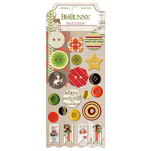 Bo Bunny - Christmas Collage Collection - Buttons