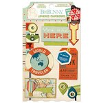 BoBunny - Souvenir Collection - Layered Chipboard Stickers with Glitter and Jewel Accents