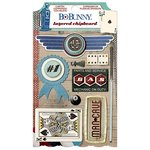 BoBunny - Wild Card Collection - Layered Chipboard Stickers with Glitter and Jewel Accents