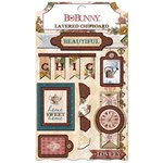 Bo Bunny - Provence Collection - Layered Chipboard Stickers