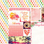 BoBunny - Calendar Girl Collection - 12 x 12 Double Sided Paper - February