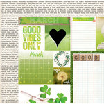 BoBunny - Calendar Girl Collection - 12 x 12 Double Sided Paper - March