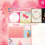 Bo Bunny - Calendar Girl Collection - 12 x 12 Double Sided Paper - August