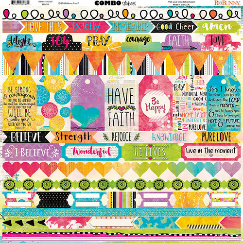 BoBunny - Believe Collection - 12 x 12 Cardstock Stickers - Combo