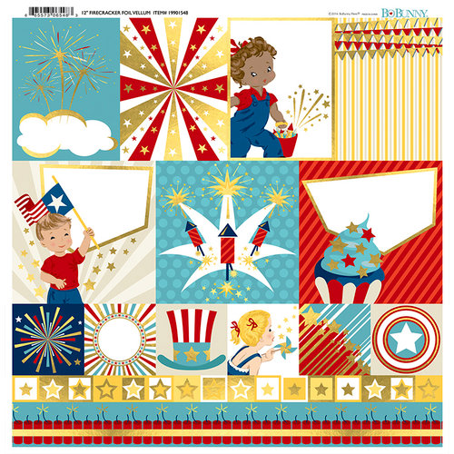 BoBunny - Firecracker Collection - 12 x 12 Vellum with Foil Accents
