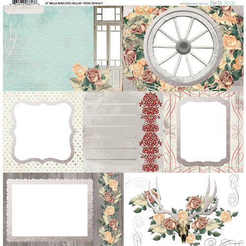 BoBunny - Bella Rosa Collection - 12 x 12 Vellum Paper with Foil Accents