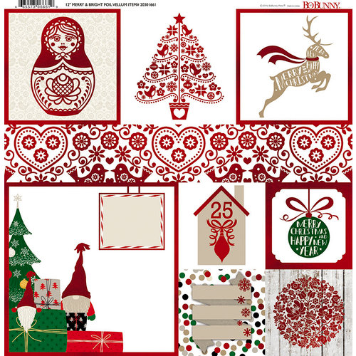 BoBunny - Merry and Bright Collection - Christmas - 12 x 12 Vellum Paper with Foil Accents