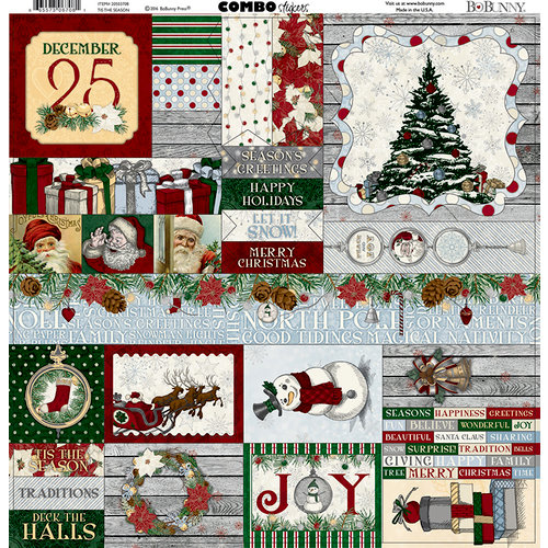 BoBunny - Tis The Season Collection - Christmas - 12 x 12 Cardstock Stickers - Combo