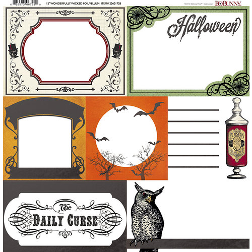 BoBunny - Wonderfully Wicked Collection - Halloween - 12 x 12 Vellum Paper with Foil Accents