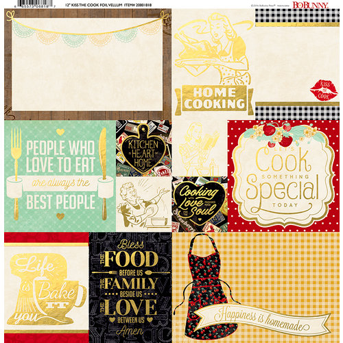BoBunny - Kiss the Cook Collection - 12 x 12 Vellum Paper with Foil Accents