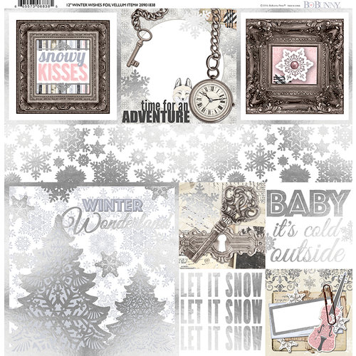 BoBunny - Winter Wishes Collection - 12 x 12 Vellum Paper with Foil Accents