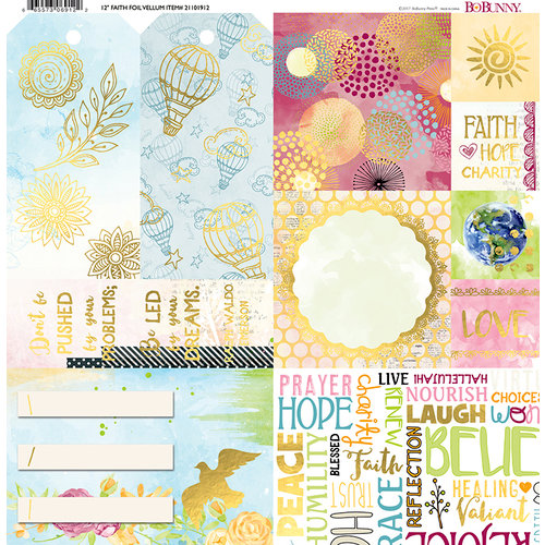BoBunny - Faith Collection - 12 x 12 Vellum Paper with Foil Accents