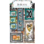 BoBunny - Life In Color Collection - Layered Chipboard Stickers with Glitter Accents