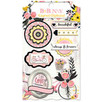 BoBunny - Petal Lane Collection - Layered Chipboard Stickers with Glitter Accents