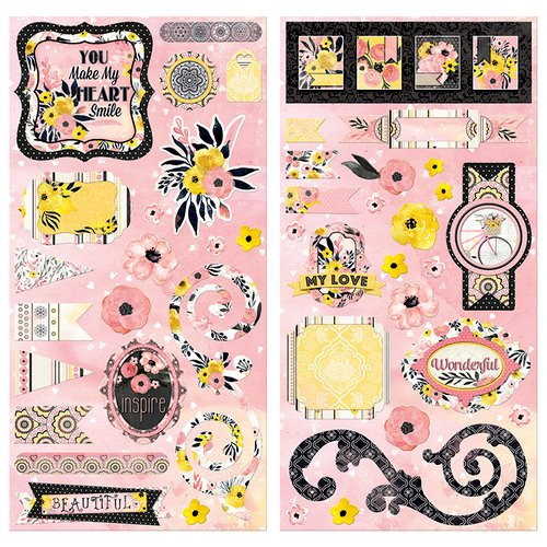 BoBunny - Petal Lane Collection - Chipboard Stickers