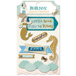 BoBunny - Down By The Sea Collection - Layered Chipboard Stickers with Glitter Accents