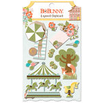 BoBunny - Weekend Adventure Collection - Layered Chipboard Stickers with Glitter Accents