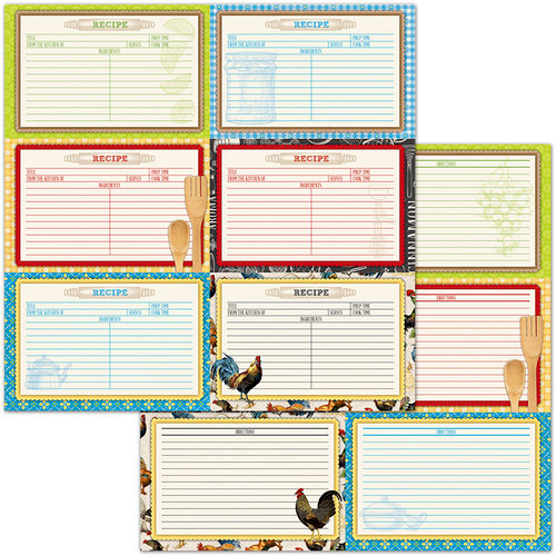 BoBunny - Family Recipes Collection - 12 x 12 Double Sided Paper - Recipe Cards