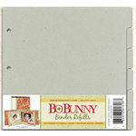BoBunny - 9x9 Bare Naked Binder - Refill Kit - 6 Tabbed Refill Pages