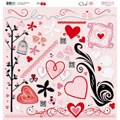 Bo Bunny - Crush Collection - Valentine - 12 x 12 Chipboard Stickers - Crush