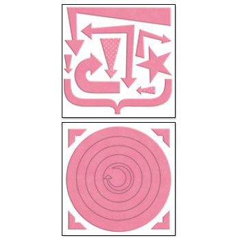 Bo Bunny Press - Chunky Charms Collection - Chipboard Stickers - Circles and Arrows - Blush