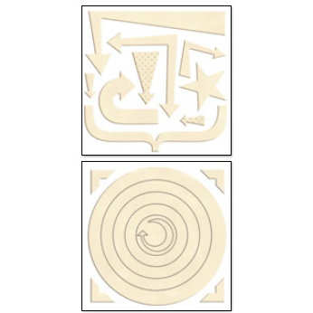 Bo Bunny Press - Chunky Charms Collection - Chipboard Stickers - Circles and Arrows - Chiffon, CLEARANCE
