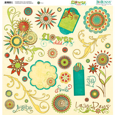 Bo Bunny Press - Flower Child Collection - 12 x 12 Chipboard Stickers - Flower Child, BRAND NEW