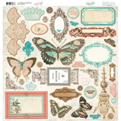 Bo Bunny - Gabrielle Collection - 12 x 12 Chipboard Stickers - Gabrielle