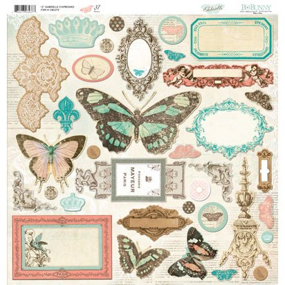 Bo Bunny Press - Gabrielle Collection - 12 x 12 Chipboard Stickers - Gabrielle