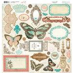 Bo Bunny Press - Gabrielle Collection - 12 x 12 Chipboard Stickers - Gabrielle