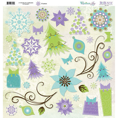 Bo Bunny Press - Winter Joy Collection - Christmas - 12 x 12 Chipboard Stickers - Winter Joy