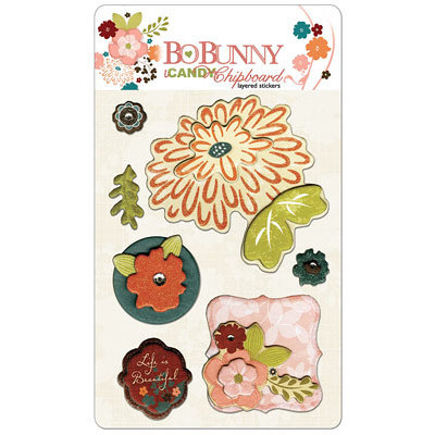 Bo Bunny Press - Olivia Collection - I Candy Chipboard - Layered Stickers with Glitter Accents