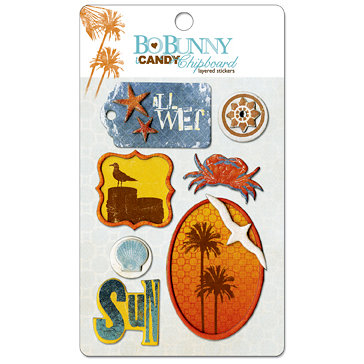 Bo Bunny Press - Paradise Collection - I Candy Chipboard - Layered Stickers with Glitter and Jewel Accents, BRAND NEW
