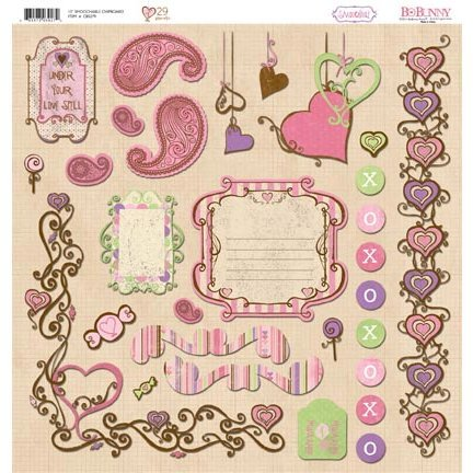 Bo Bunny - Smoochable Collection - 12 x 12 Chipboard Stickers